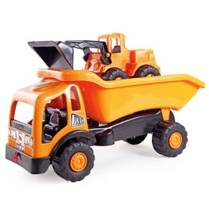 Camión minero con excavadora road works 2 en 1 , juego para el desarrollo de habilidades motrices