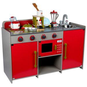 Cocina de Madera Roja 15 Utensilios Juguete simbólico