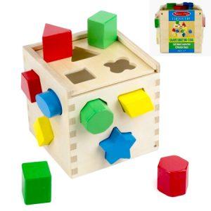 Cubo de encaje de madera, juego de coordinación viso-motriz