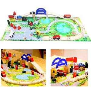 Tren de madera 40 piezas, juego para el desarrollo psicomotor