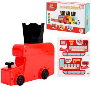 Bus a pilas con dispensador automático de piezas de dominó