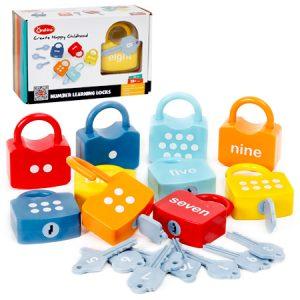 Candados y llaves para aprender los números arábigos e ingleses