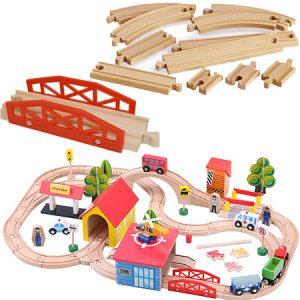 Tren de madera 69 piezas, juego para el desarrollo psicomotor